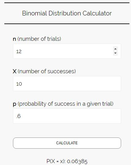 Binomial distribution calculator