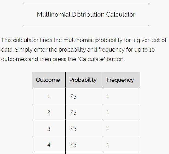 Multinomial calculator