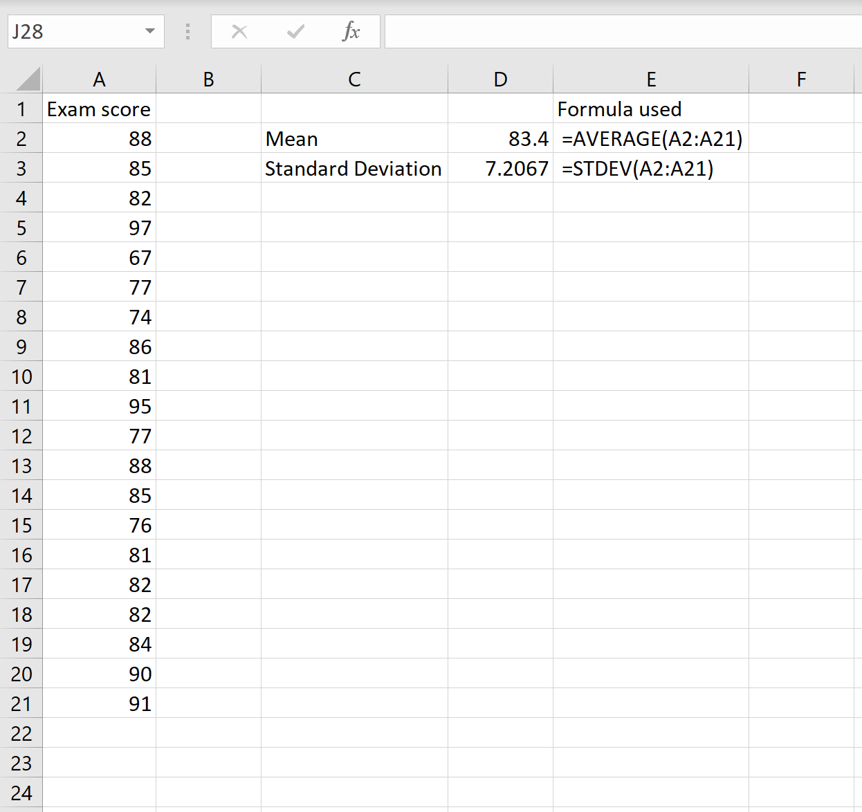 Coefficient of variation calculation for a dataset in Excel