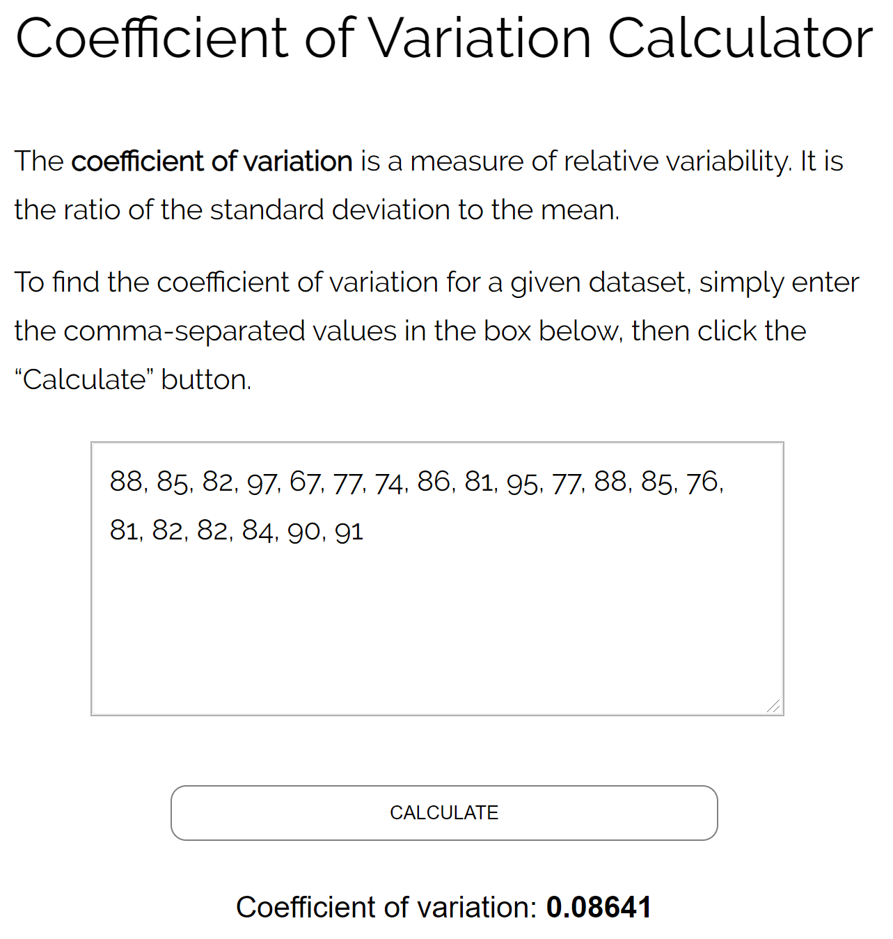 Coefficient of variation calculator example