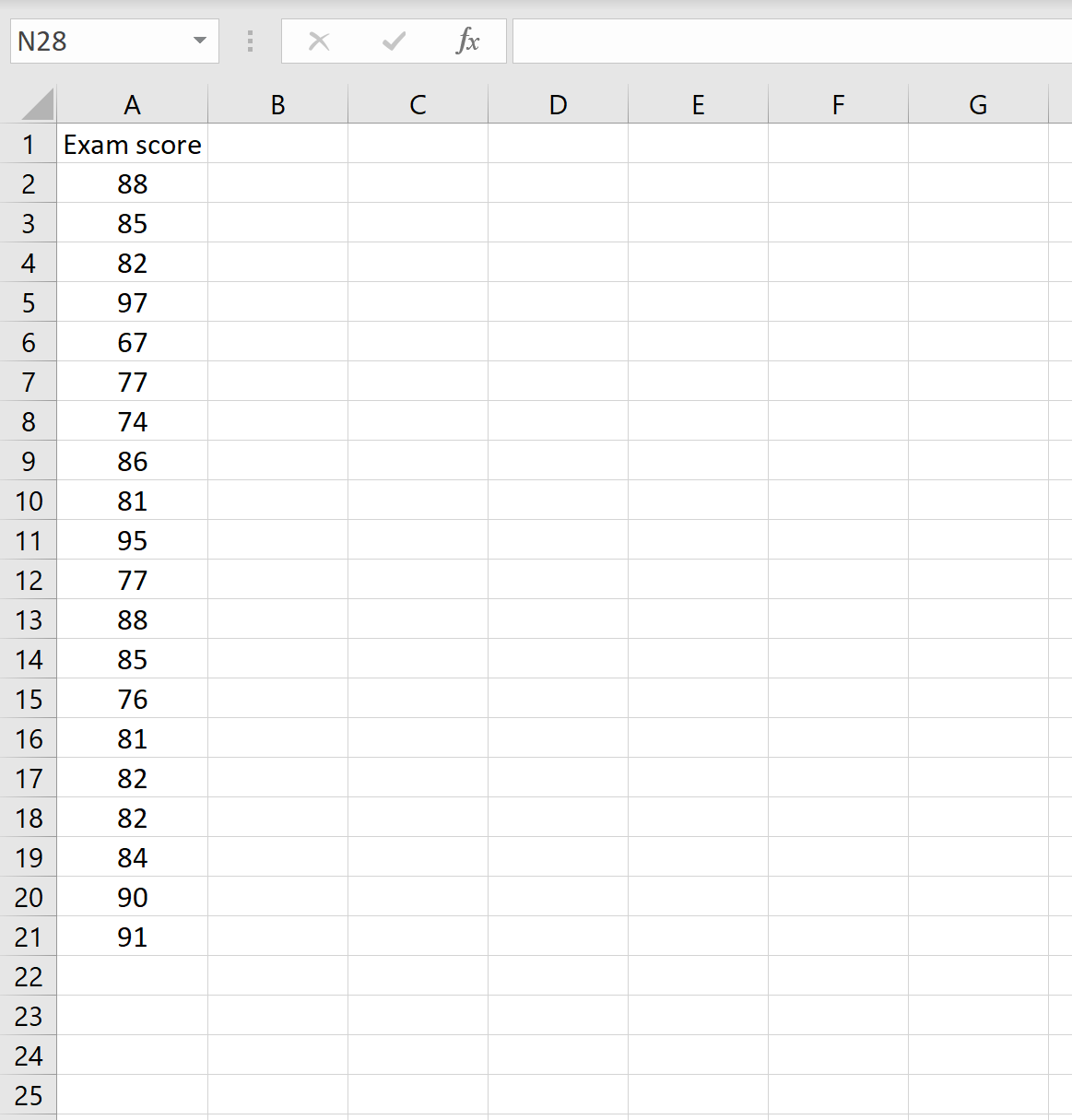 Example of an array of values in Excel