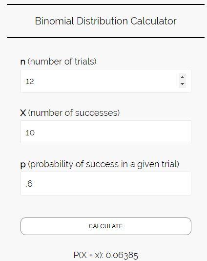 Binomial distribution calculator