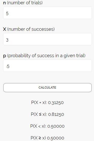 Binomial distribution calculator output