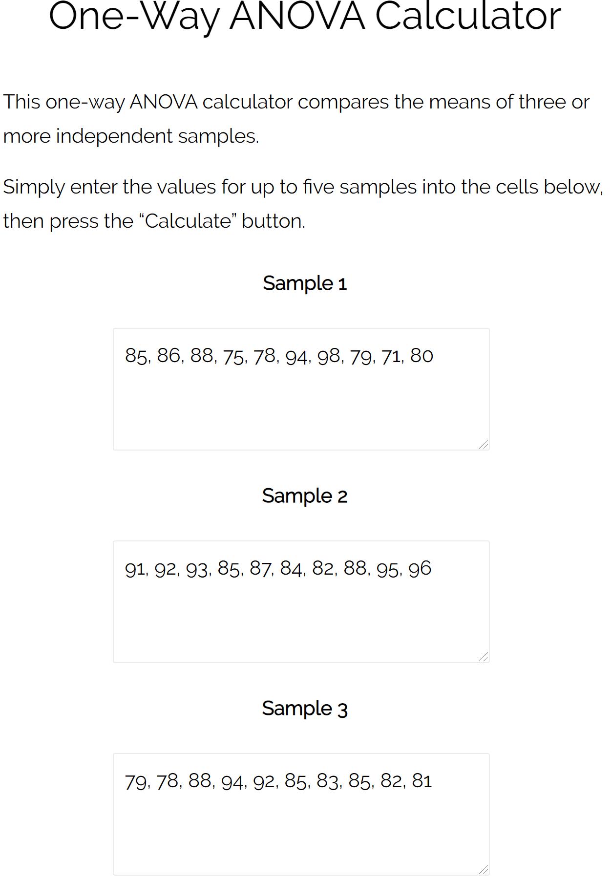 One-way ANOVA calculation example