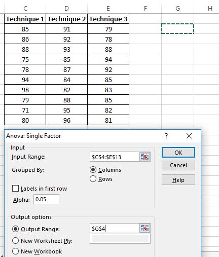 One way ANOVA in Excel