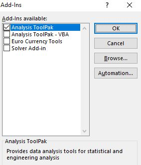 Analysis ToolPak in Excel