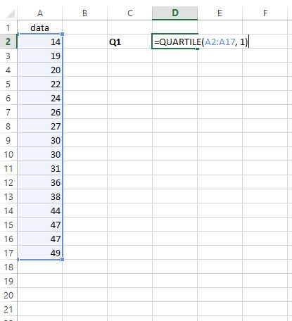 Finding the IQR in Excel