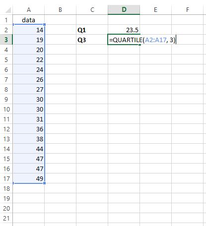 Finding the third quartile of a dataset in Excel