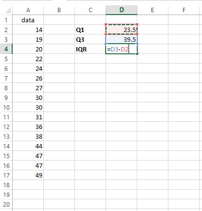 IQR in Excel