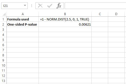P value from z score in Excel