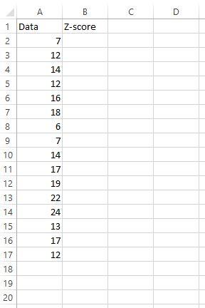 Z score dataset in Excel