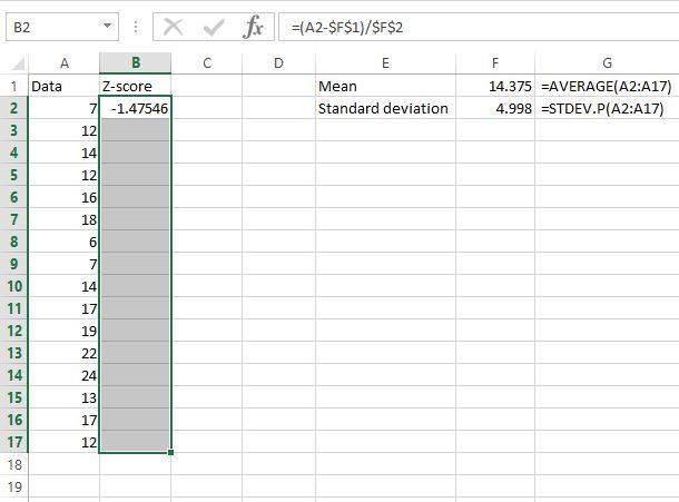 Z scores in Excel