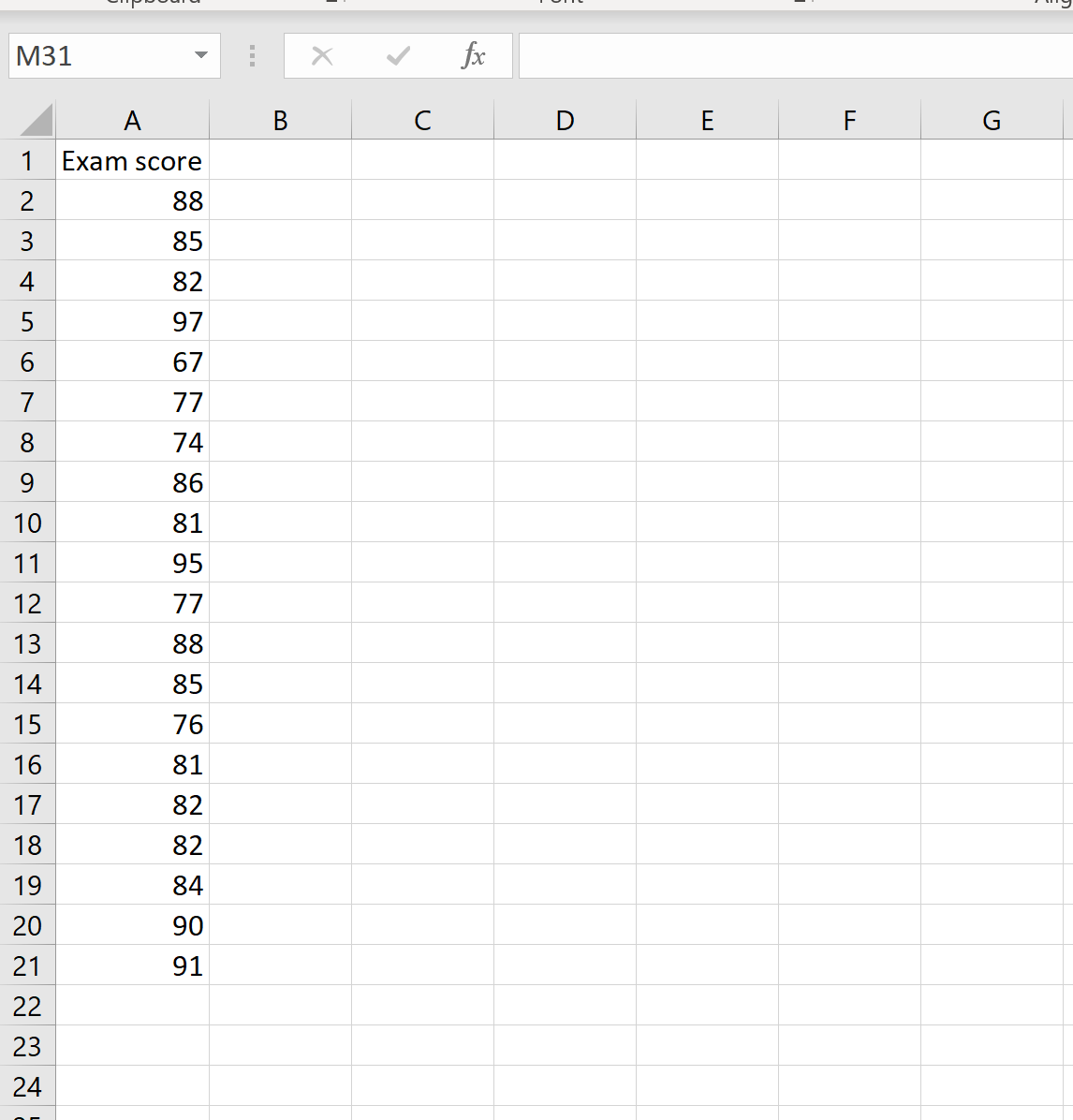 Example dataset in Excel