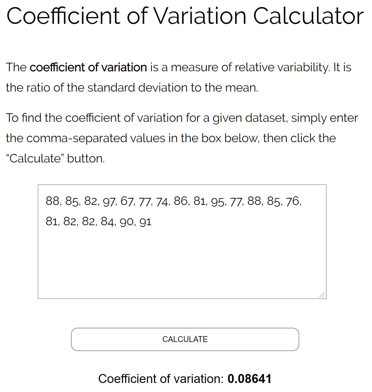 Coefficient of variation calculator example