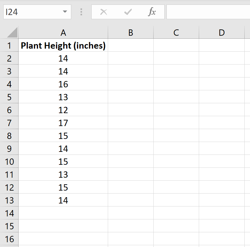 One sample in Excel
