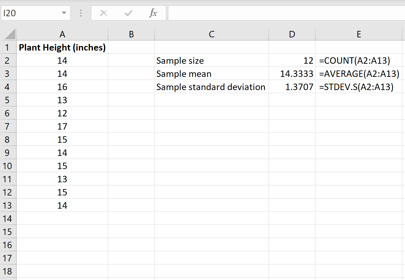 How to set up a one sample t test in Excel