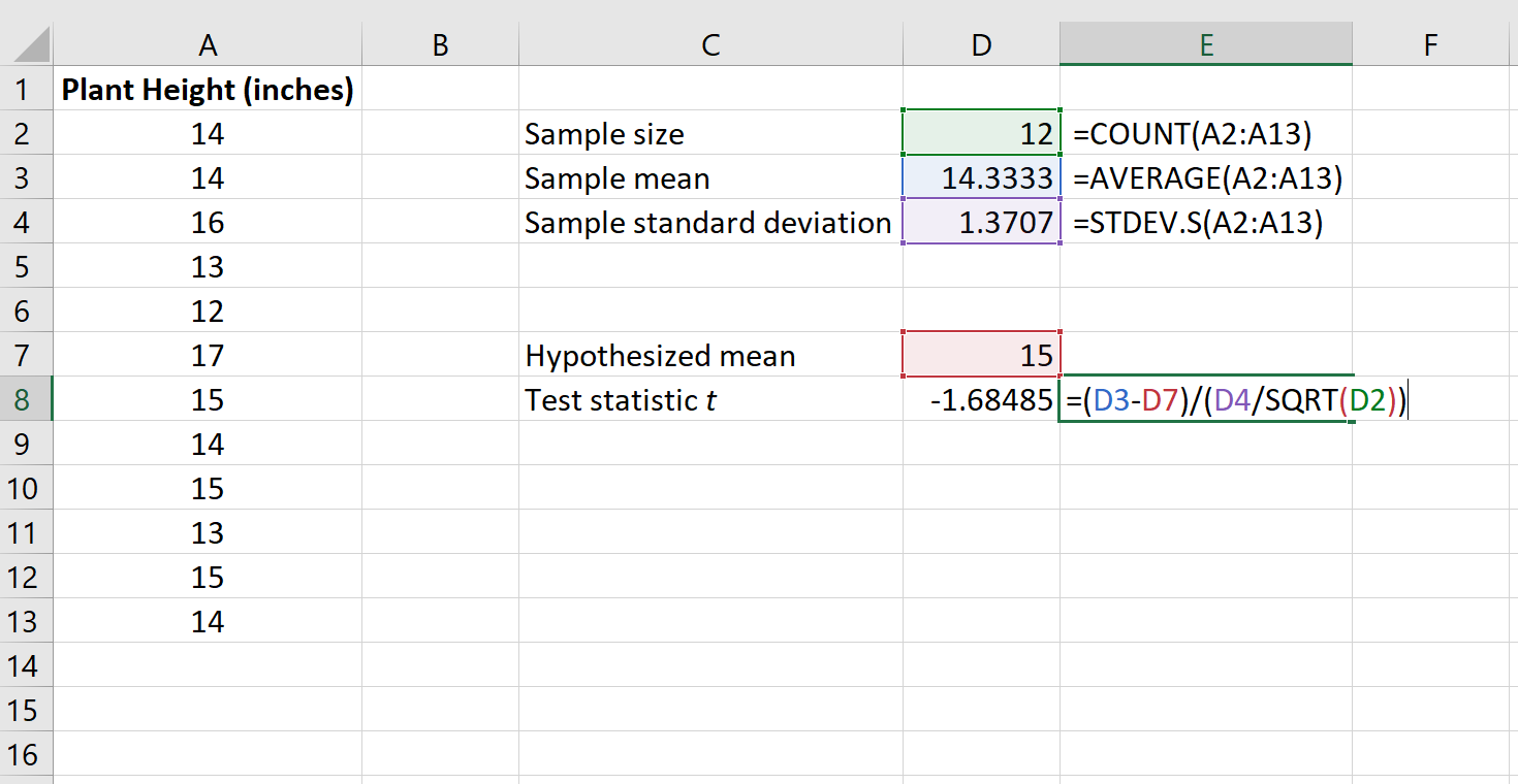 How to calculate the test statistic for one sample t test in Excel