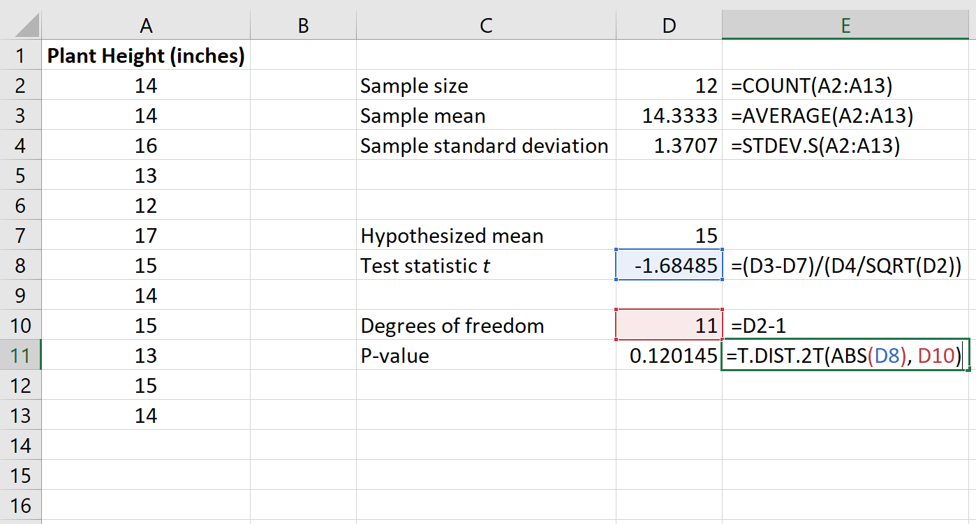 How to calculate the p-value for a test statistic in Excel