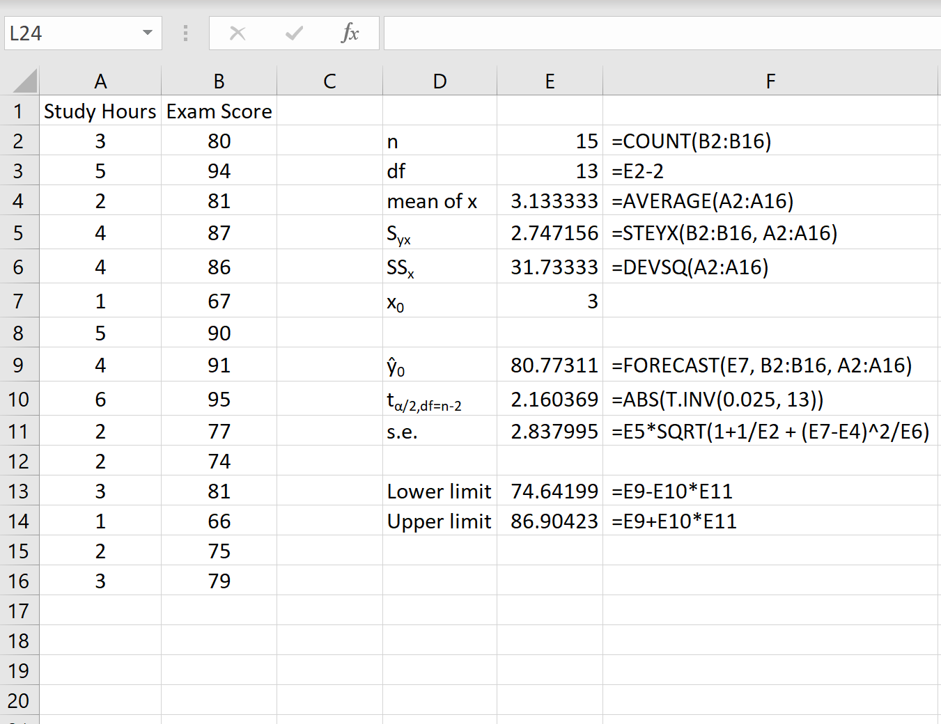 How to calculate a prediction interval in Excel