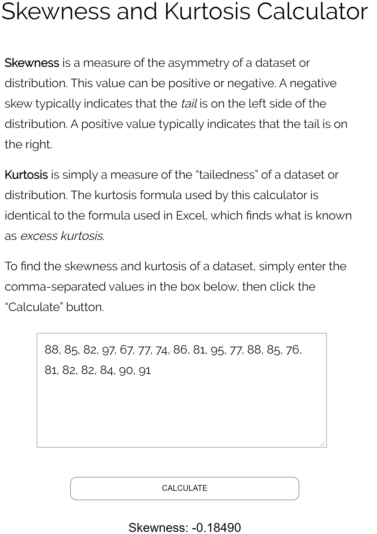 Skewness calculator example