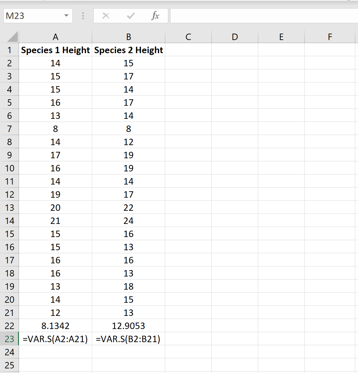 Example of finding sample variance in Excel