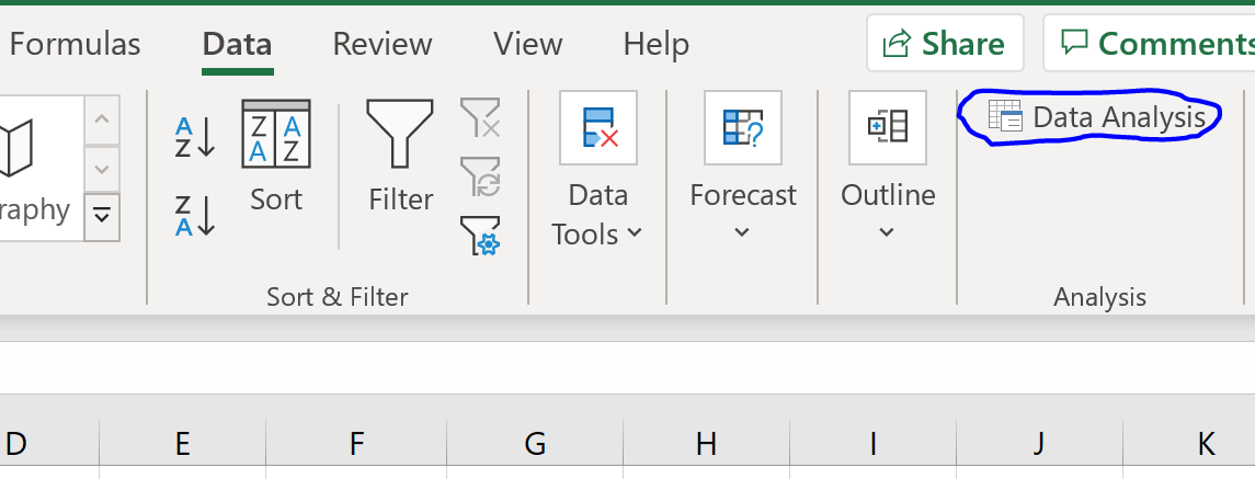 Data Analysis option in Excel