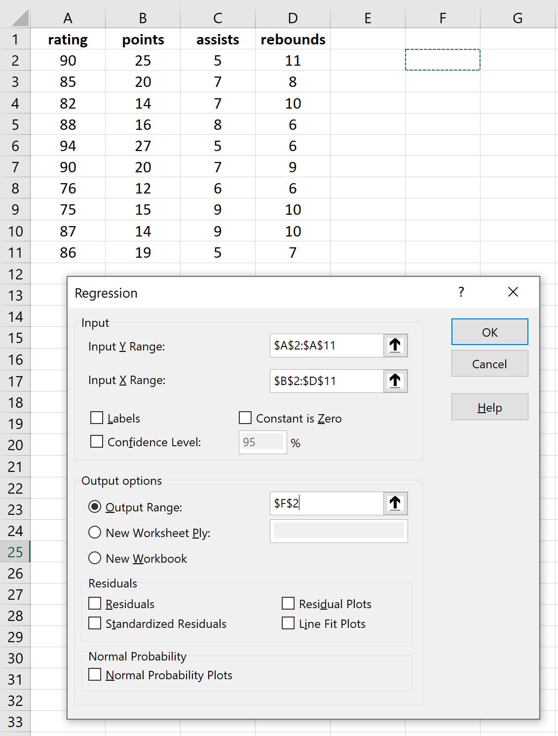 Multiple regression in Excel
