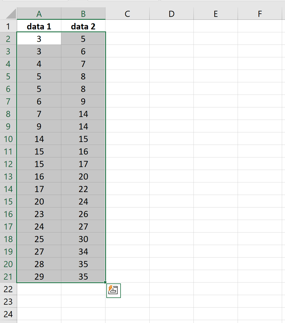 Two data columns in Excel