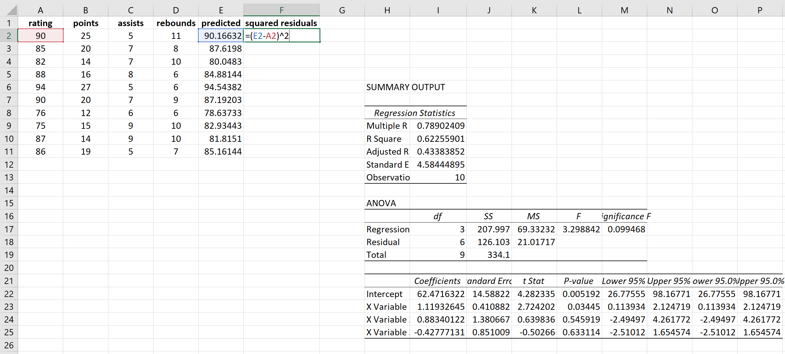 Calculating residuals in Excel