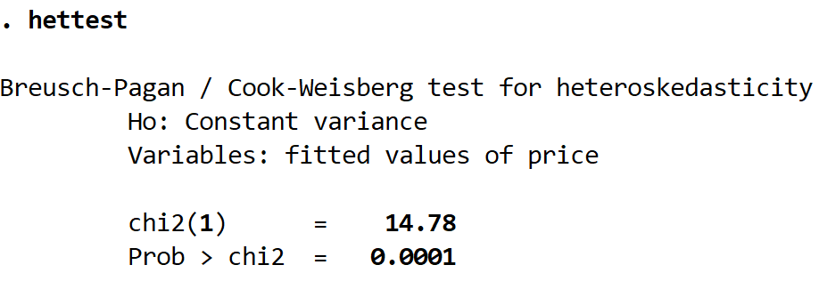 Breusch-Pagan test output in Stata
