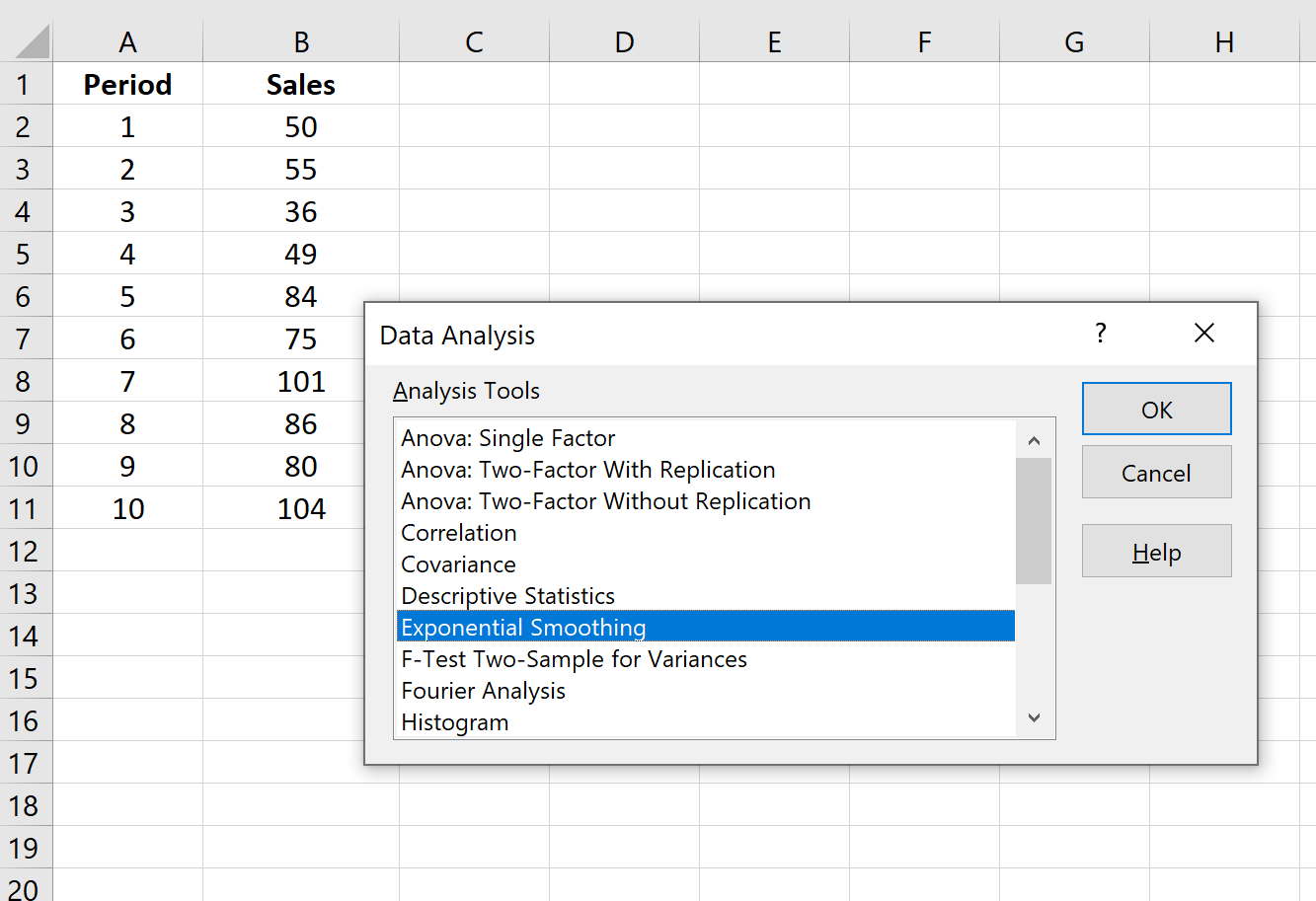 Exponential Smoothing example in Excel