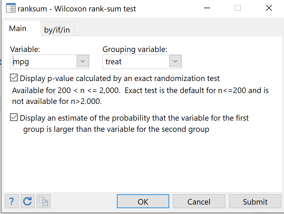 Mann Whitney U test in Stata
