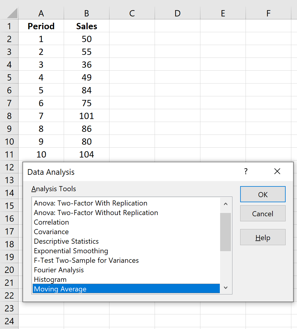Moving average with Data Analysis ToolPak in Excel