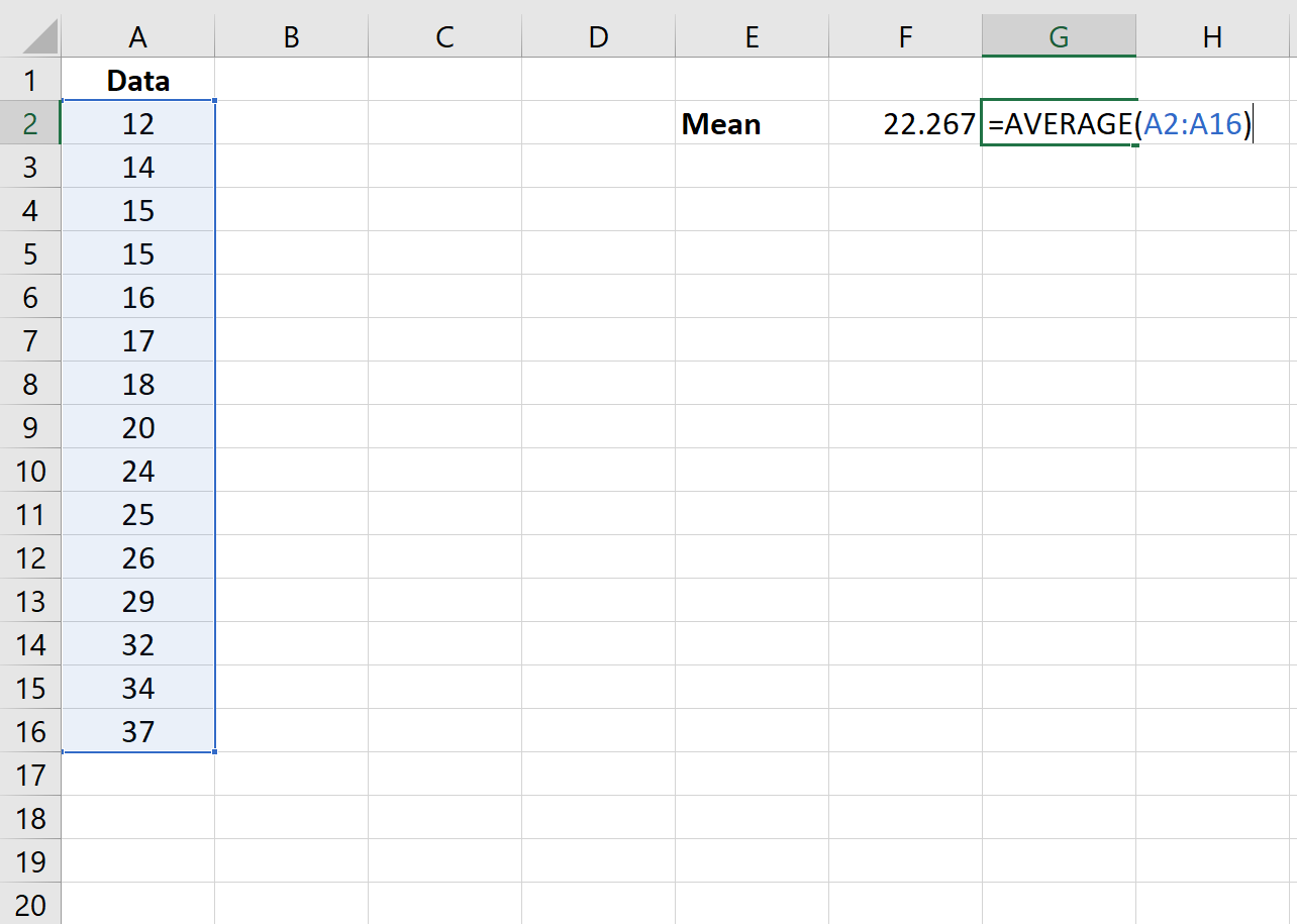 Average function in Excel