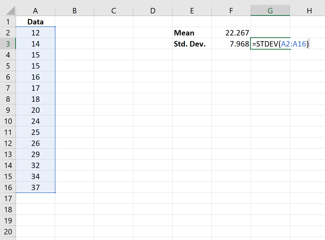 Standard deviation function in Excel
