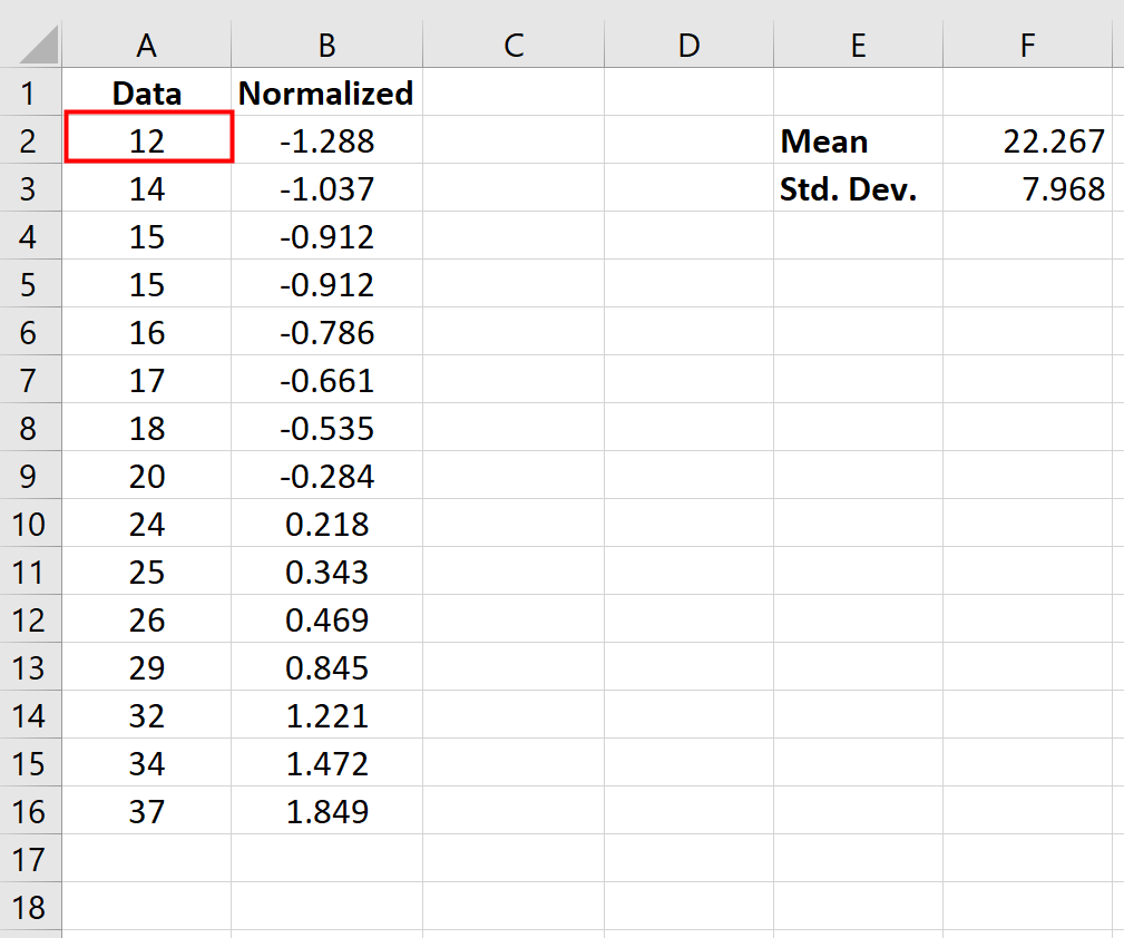 Normalized data formula in Excel
