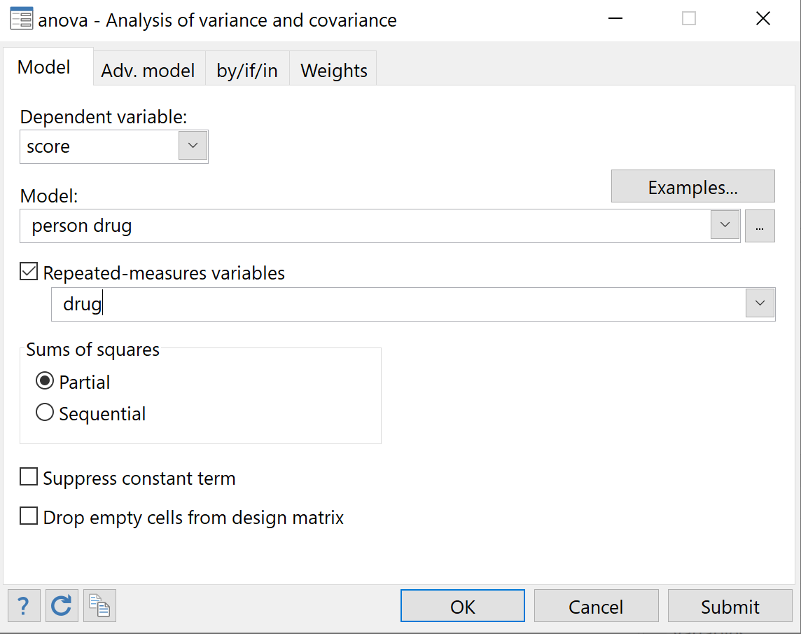 One way repeated measures ANOVA in Stata