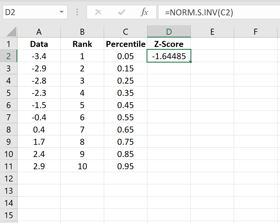 Z-score calculation in Excel