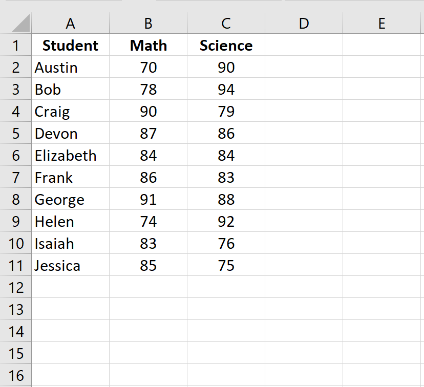 Raw data in Excel in two columns