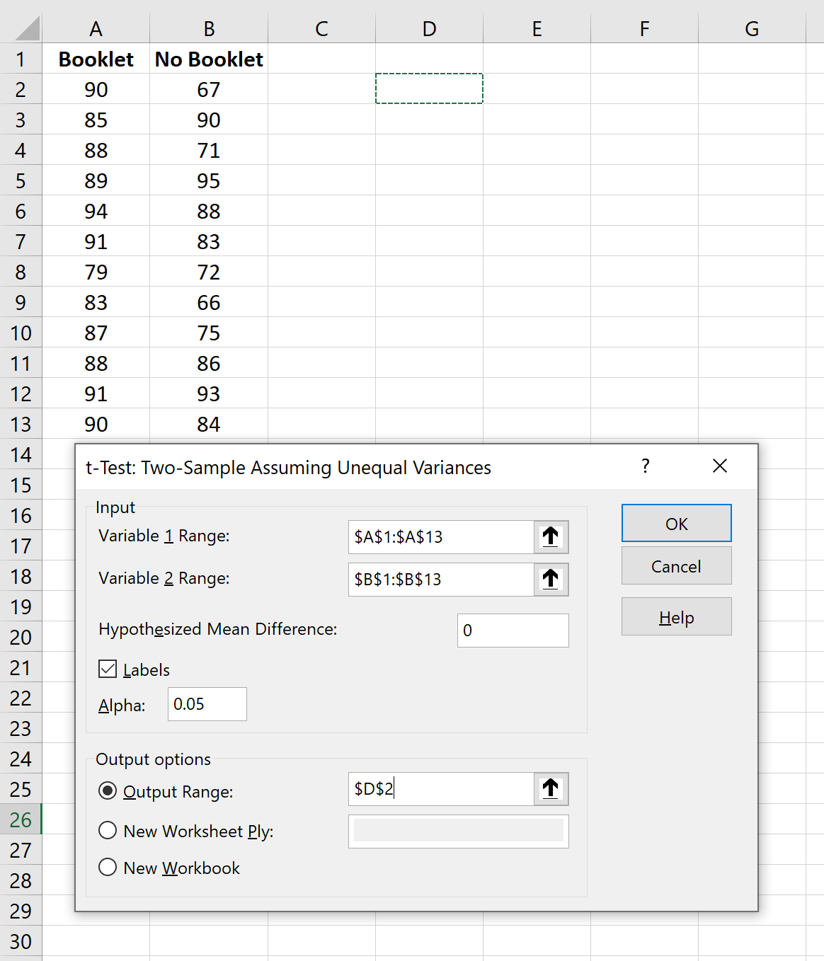 Welch's t-test in Excel example