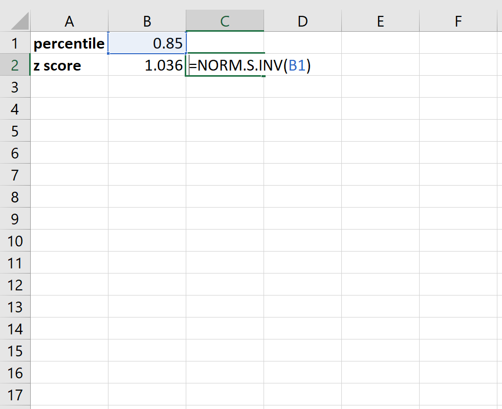Converting z-scores to percentiles in Excel