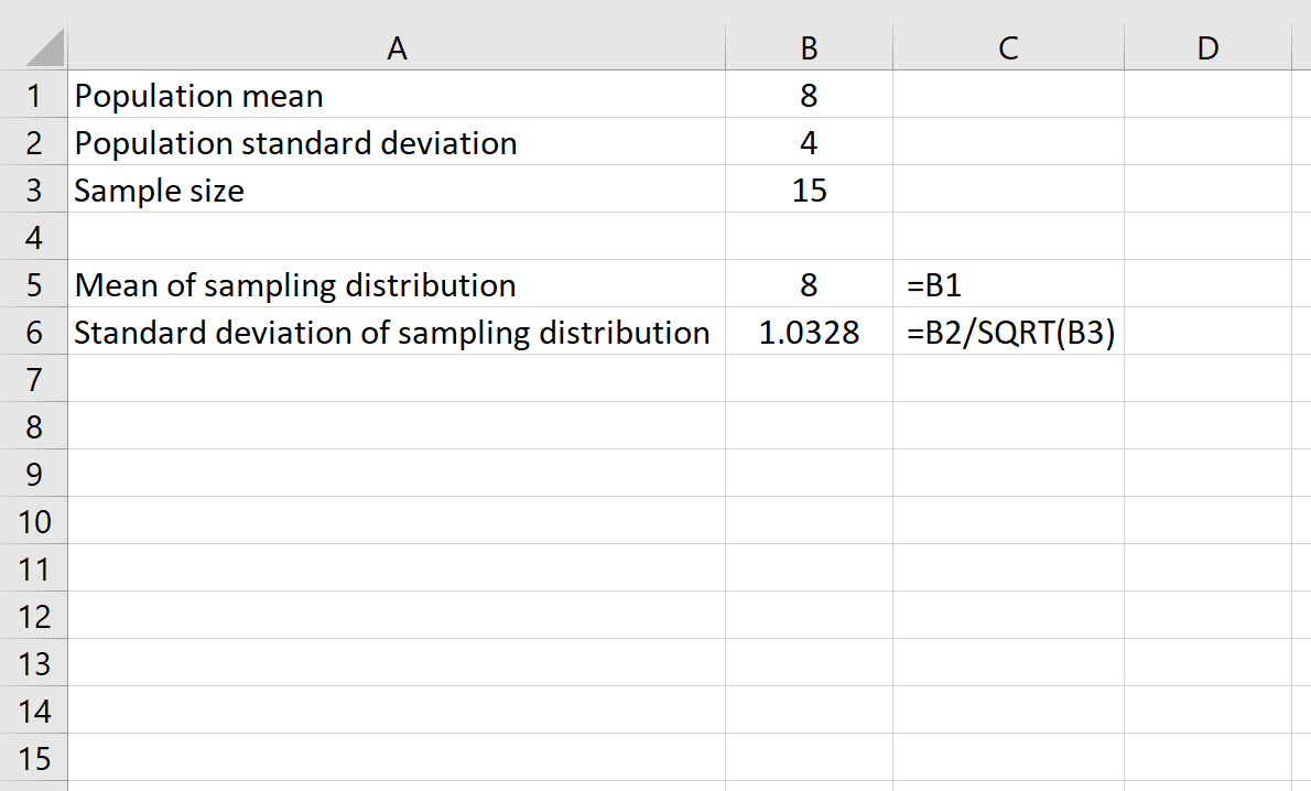 Central limit theorem example in Excel