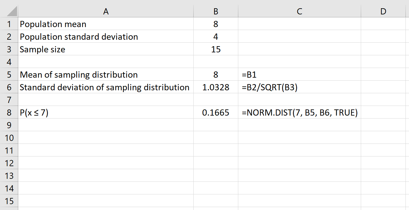 Central limit theorem probability in Excel