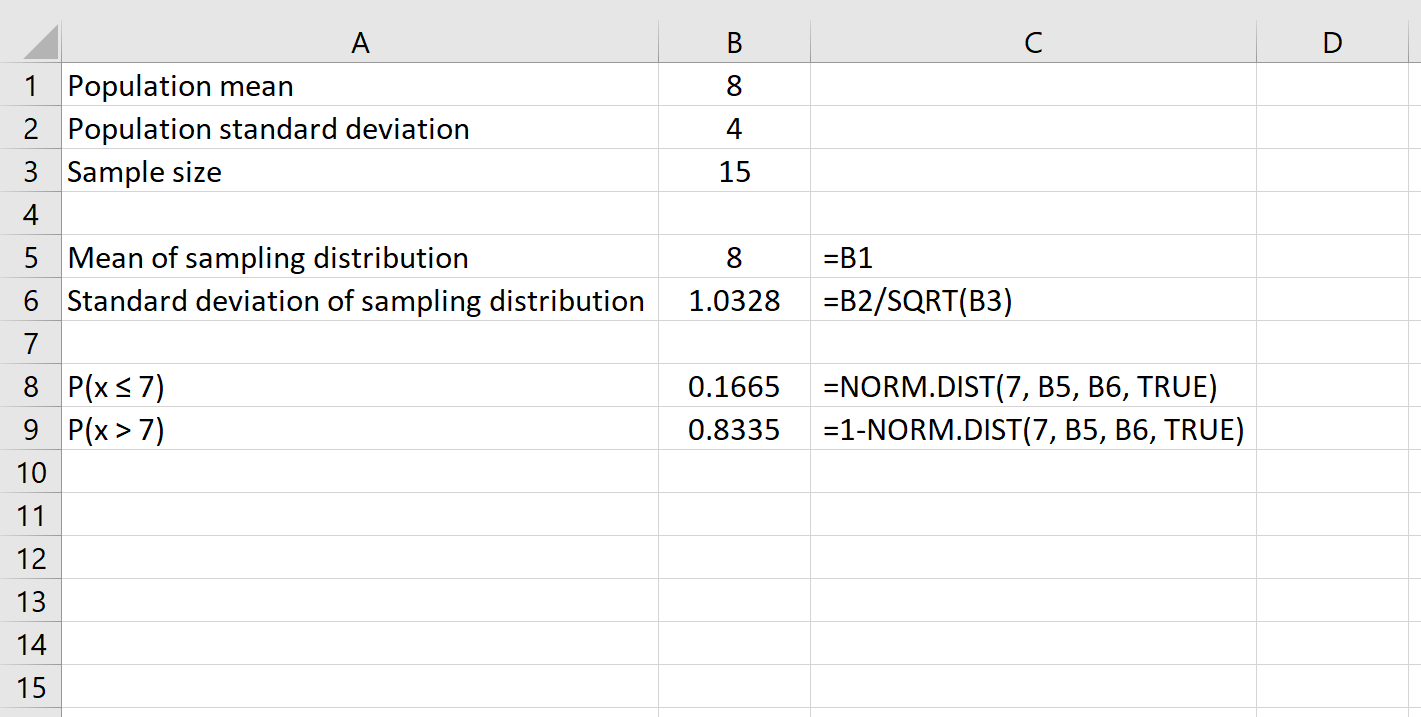 Central limit theorem in Excel