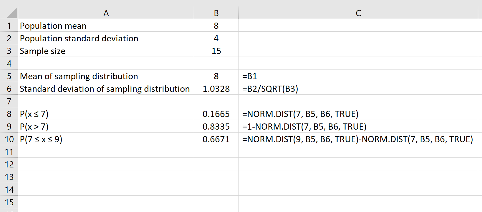 Sampling distribution with central limit theorem in Excel