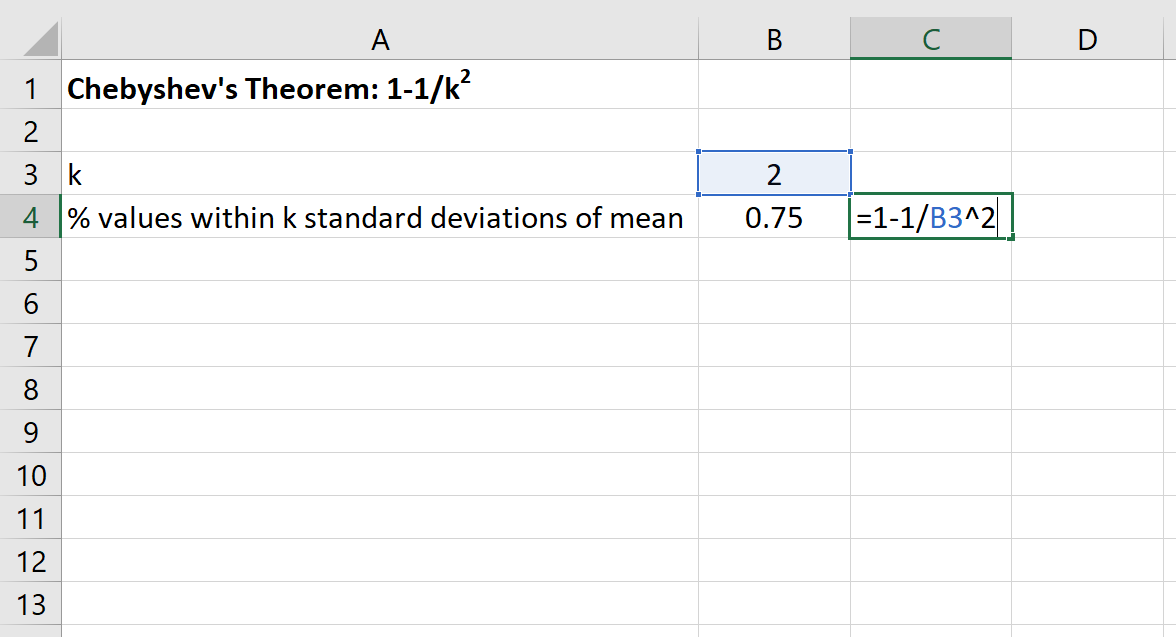 Chebyshev's Theorem example in Excel