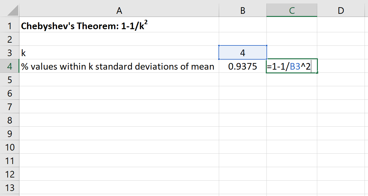 Chebyshev's Theorem example calculation in Excel