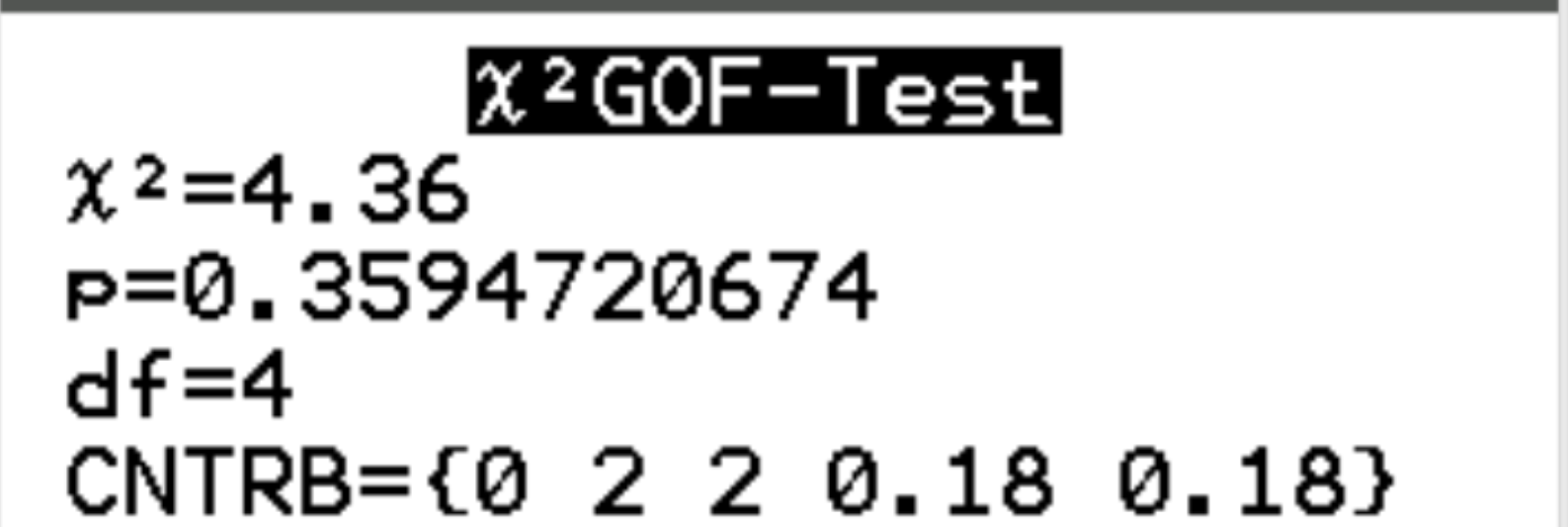 Chi-Square goodness of fit test output on TI-84 calculator