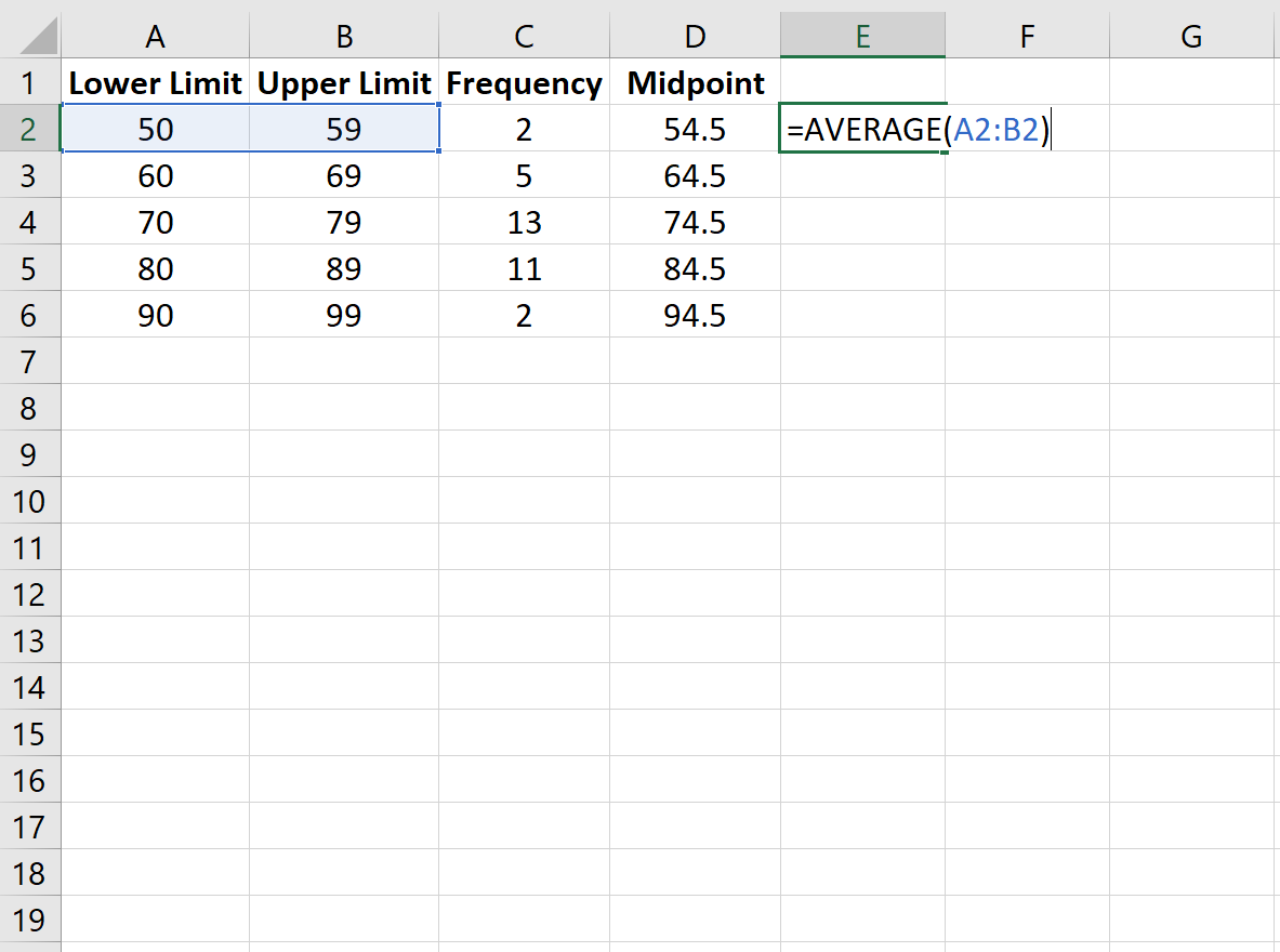 Midpoint of frequency table