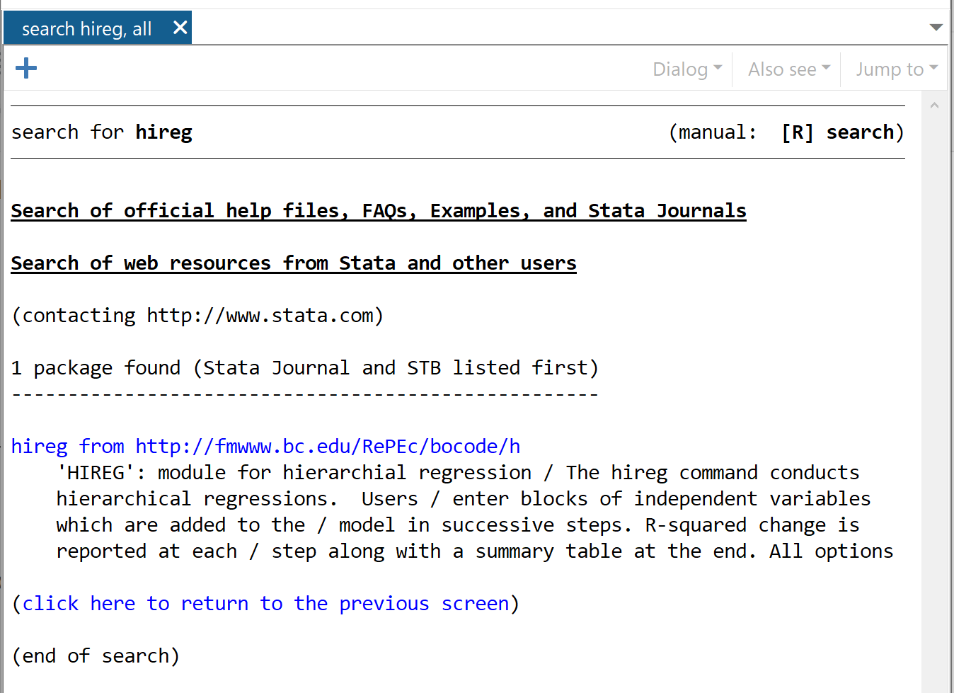 Install hireg package in Stata